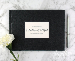 Floral Bloom Embossed Guest Book - black, personalised for wedding, engagement, birthday or any event