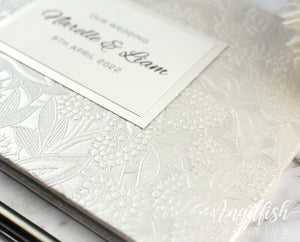 Floral Bloom Embossed Guest Book - ivory, personalised for wedding, engagement, birthday or any event