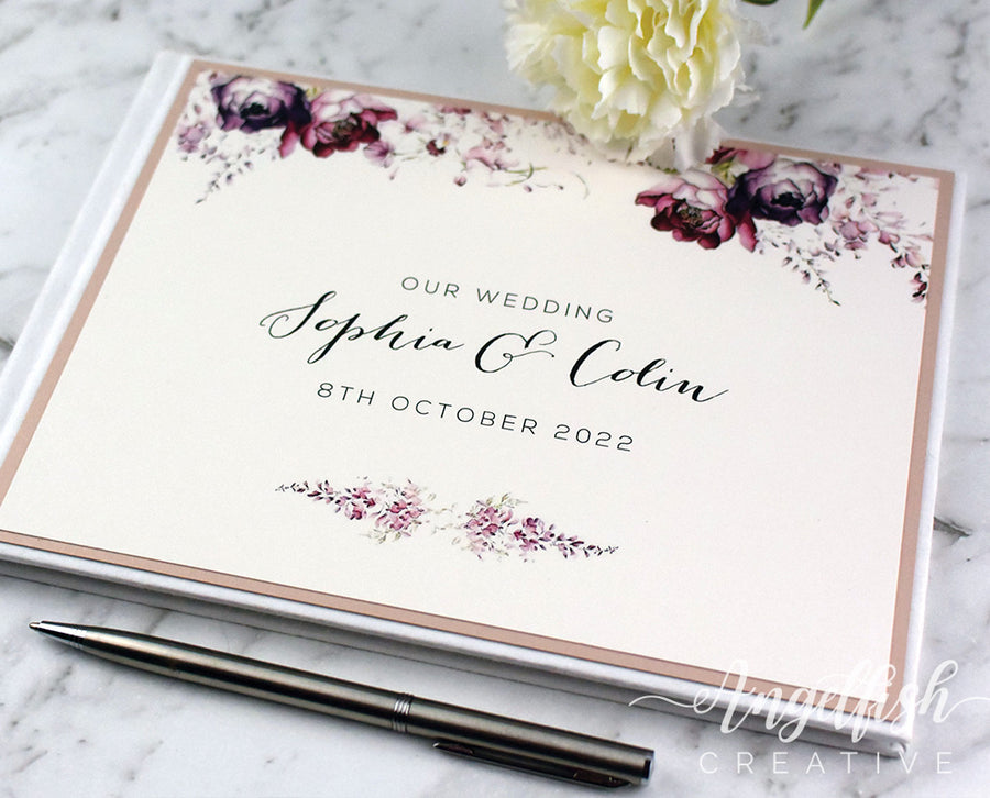 Blush Floral Guest Book, personalised for wedding, engagement, birthday or any event