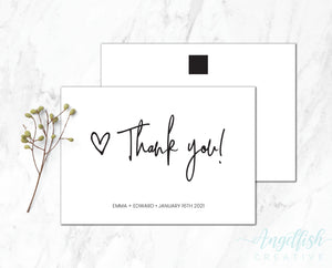 Love Script Thank You Card