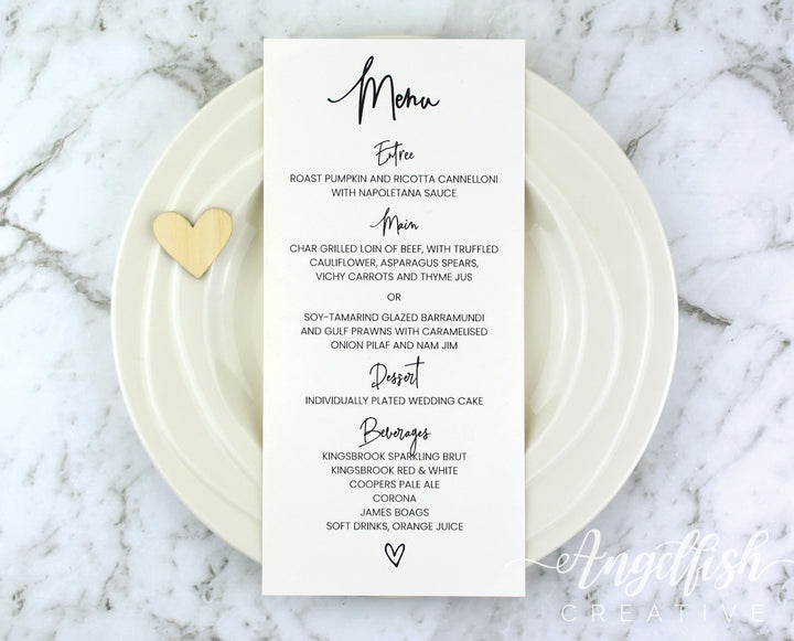 Love Script Wedding Menu, printed modern heart DL card