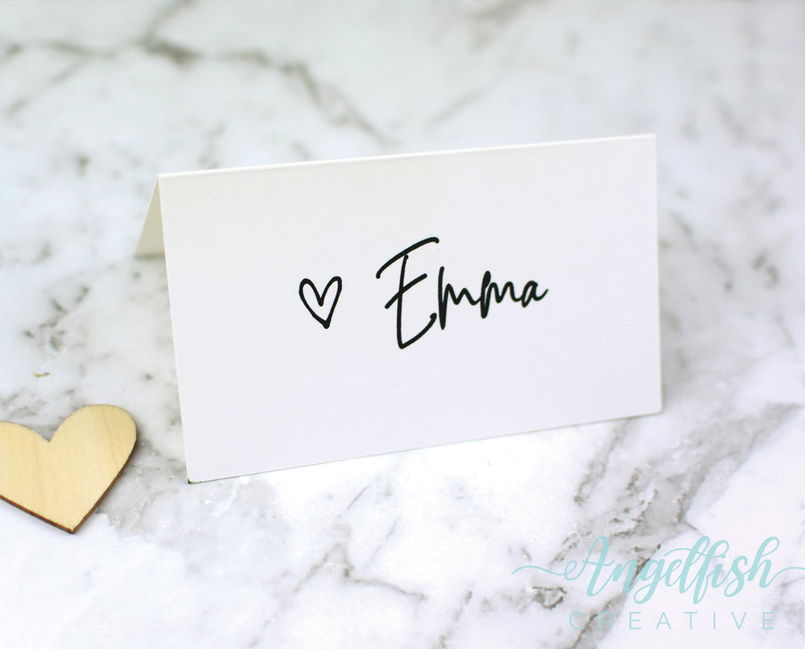 Love Script Wedding Placecard, modern heart printed personalised name card