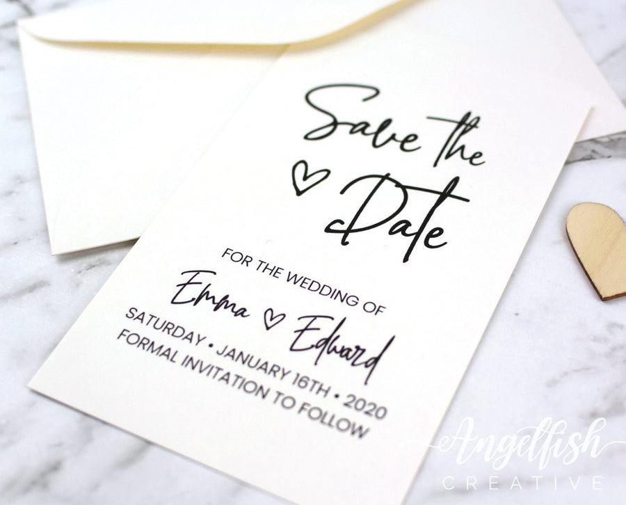 Love Script Wedding Save the Date, modern heart printed card