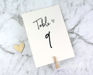 Love Script Wedding Table Number, modern heart printed card
