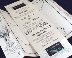 Magical Map Wedding Invite - printed Harry Potter inspired Marauders Map invitation
