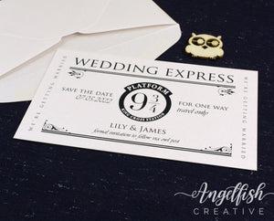 Wedding Express Save the Date - magical Harry Potter inspired wedding card