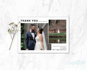 Modern Line Thank You Card, printed personalised photo card