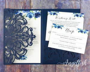 Navy Classic Lace Tri-Fold Laser Cut Wedding Invitation, printed invite set