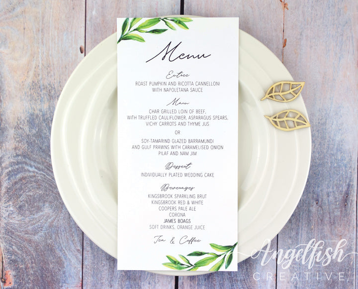 Olive Grove Wedding Menu, printed greenery DL card