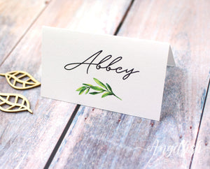 Olive Grove Wedding Placecard, printed greenery personalised name card