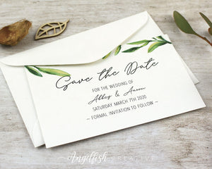 Olive Grove Wedding Save the Date, greenery printed card