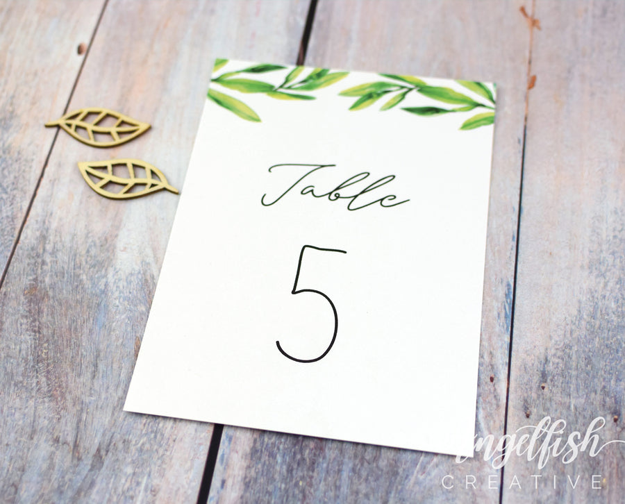 Olive Green Wedding Table Number, greenery printed card