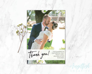Overlay Thank You Card, printed personalised photo card