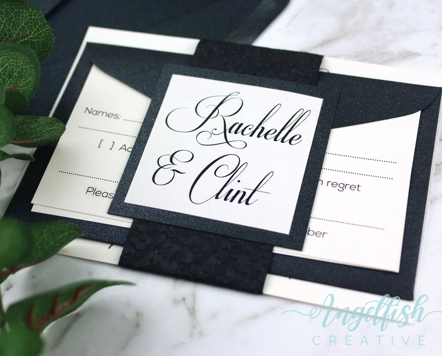Black Pebble Wedding Invitation Bundle, embossed shimmer printed invite set