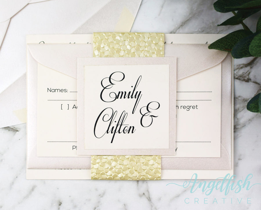 Ivory Pebble Wedding Invitation Bundle, embossed shimmer printed invite set