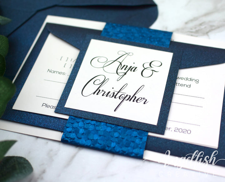 Navy Pebble Wedding Invitation Bundle, embossed blue printed invite set