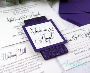 Purple Pebble Wedding Invitation Bundle, embossed shimmer printed invite set