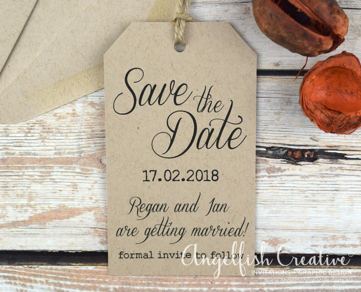 Rustic Tag Save the Date