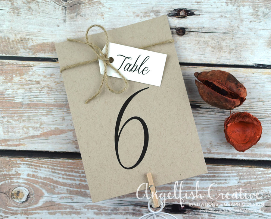 Rustic Tag Table Number