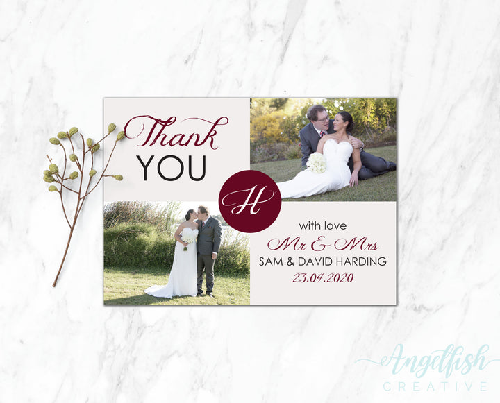 Rustic Initial Thank You Card, printed personalised photo card