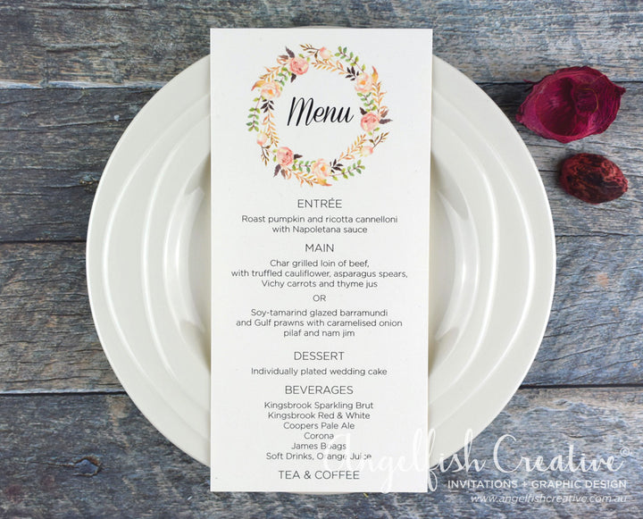 Rustic Rose Menu