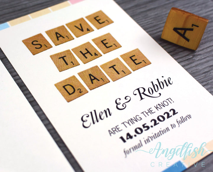 Spell It Out Save the Date, Scrabble board game inspired printed card