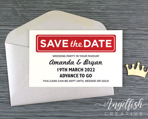 Weddingopoly Save the Date, monopoly board game inspired printed card