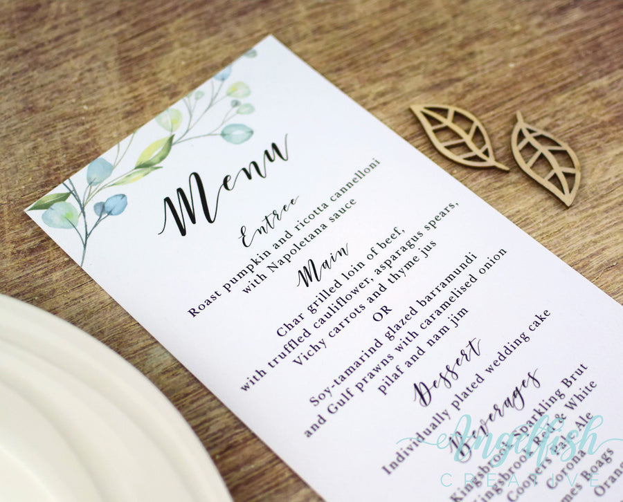 Woodlands Wedding Menu, printed greenery leaves DL card