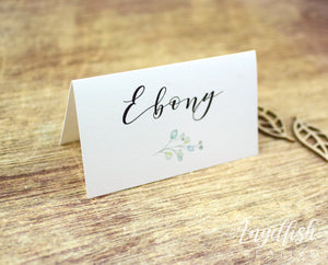 Woodlands Wedding Placecard, greenery leaves printed personalised name card
