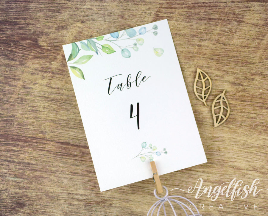 Woodlands Wedding Table Number, greenery leaves printed card