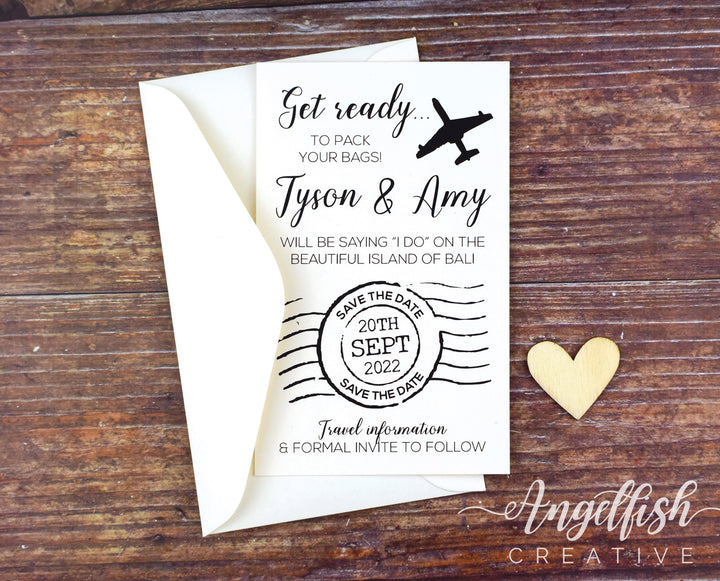 Travel Wedding Save the Date, luggage stamp printed card