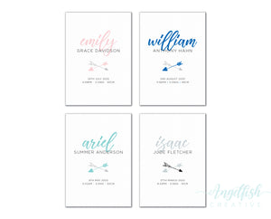 Boho Arrow Birth Print, personalised baby details art - colours