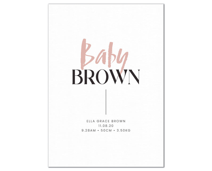Baby Surname Birth Print, personalised baby details artwork - blush