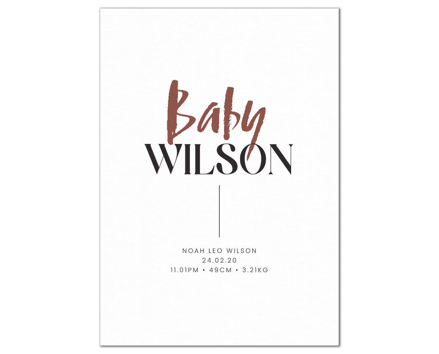 Baby Surname Birth Print, personalised baby details artwork - burgundy