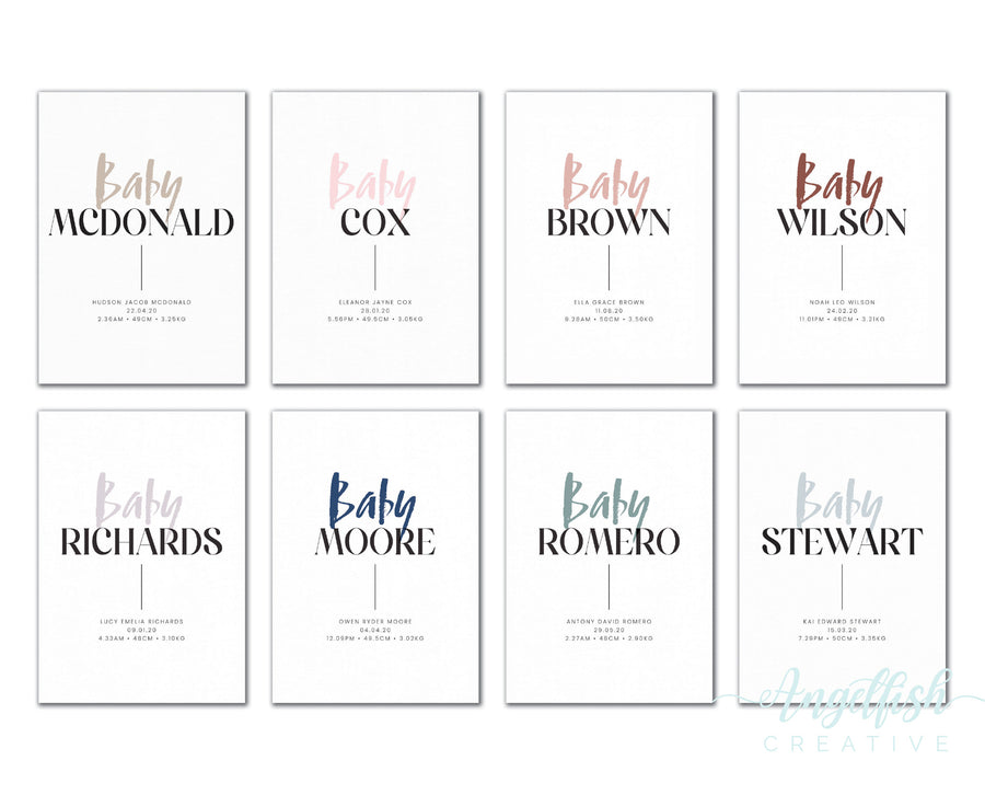 Baby Surname Birth Print, personalised baby details artwork