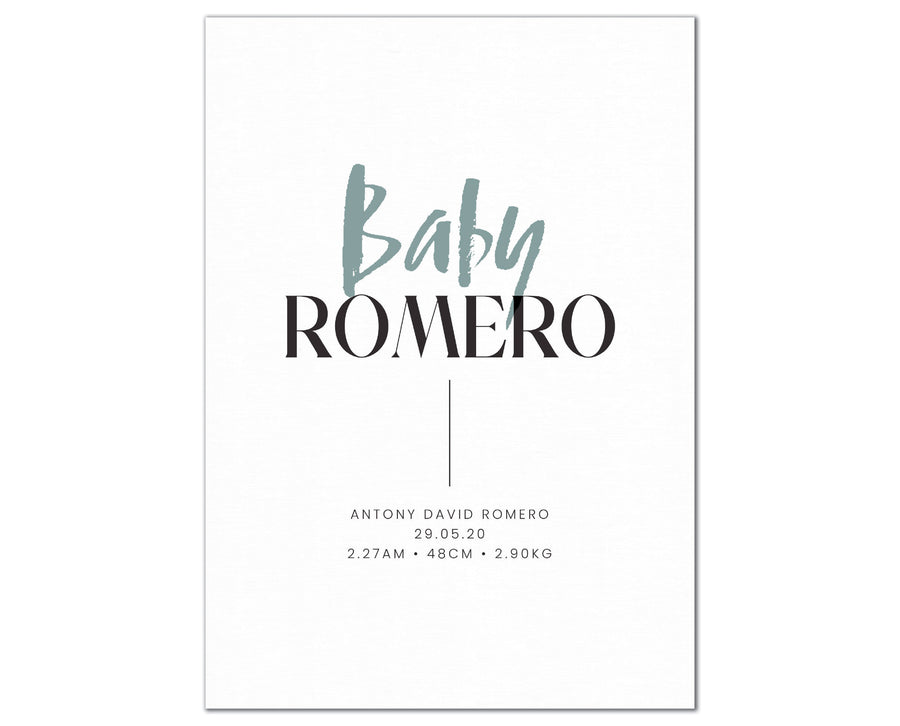 Baby Surname Birth Print, personalised baby details artwork - forest