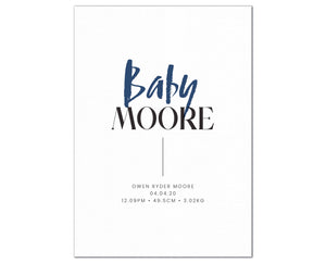 Baby Surname Birth Print, personalised baby details artwork - navy
