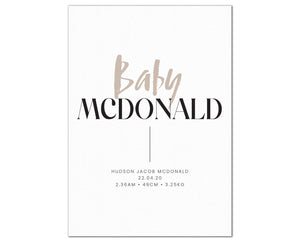 Baby Surname Birth Print, personalised baby details artwork - taupe