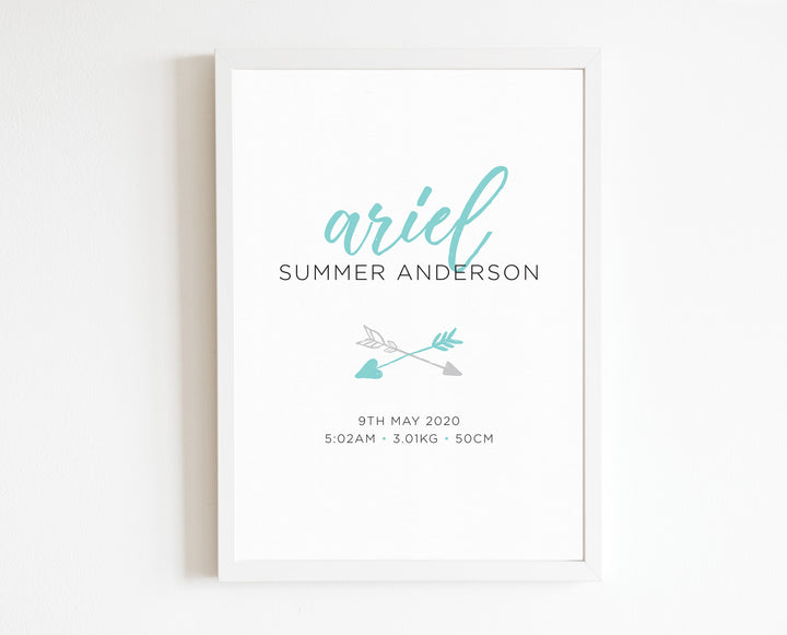Boho Arrow Birth Print, personalised baby details art