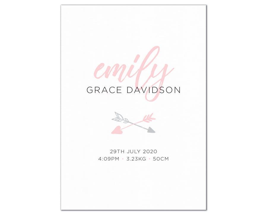 Boho Arrow Birth Print, personalised baby details art - pink