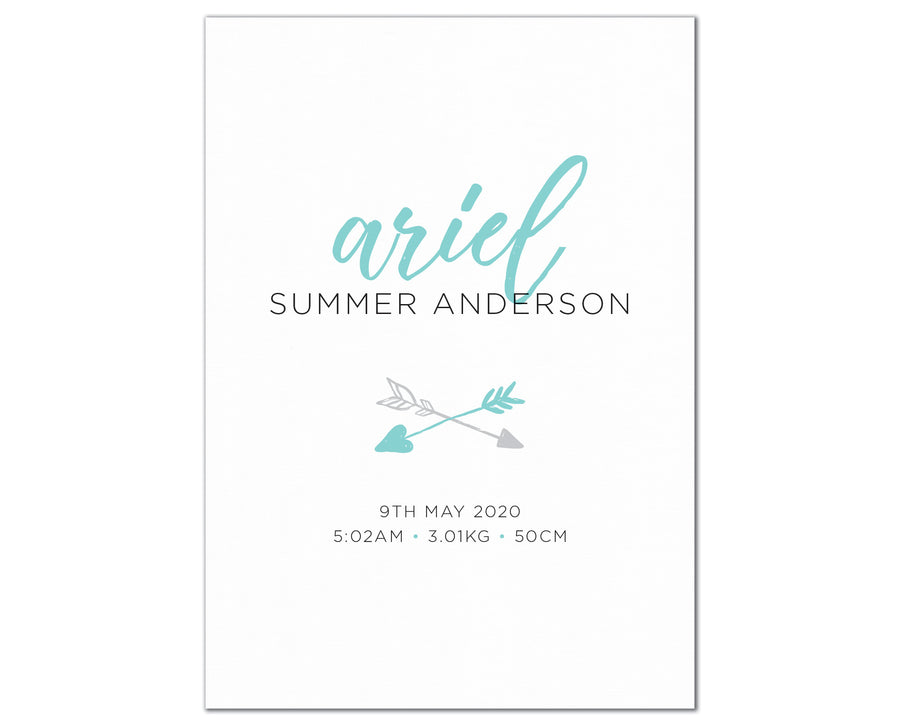 Boho Arrow Birth Print, personalised baby details art - turquoise