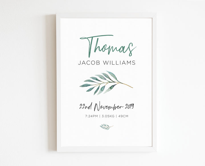 Botanical Birth Print, personalised baby details artwork