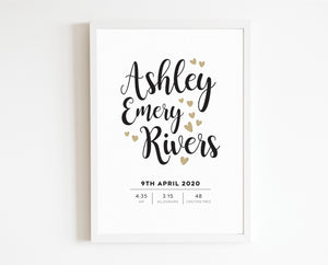 Heart Script Birth Print - personalised baby details artwork