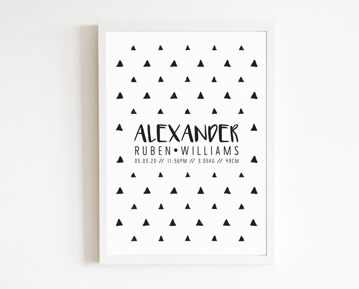 Monochrome Triangle Birth Print, personalised baby details artwork