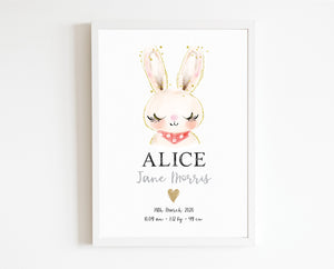 Baby Bunny Birth Print, personalised baby details artwork