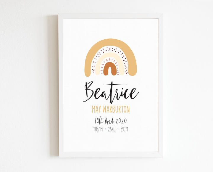 Rainbow Birth Print, personalised baby details artwork