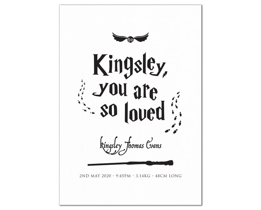 So Loved Birth Print, personalised Harry Potter inspired baby details artwork