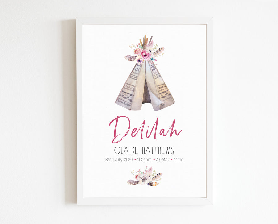 Teepee Birth Print, personalised tribal baby details artwork
