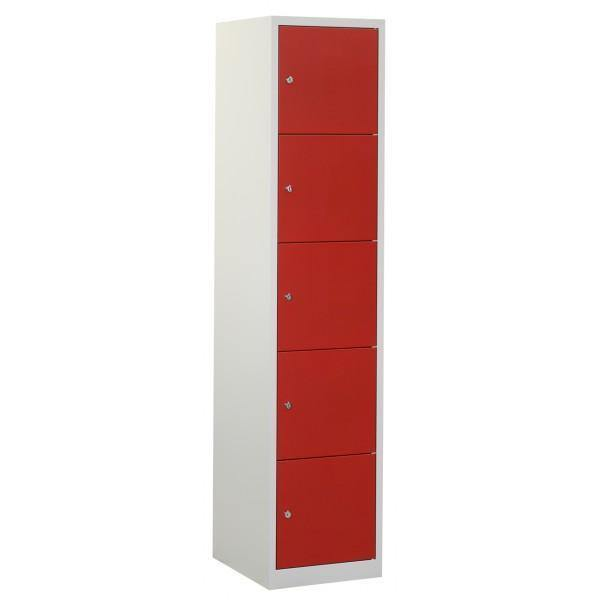 Lockerkast 1 kolom 5 vakken freeshipping - Tom Kantoor & Projectinrichting