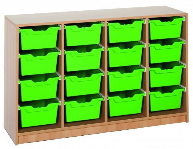 Ergo Tray klaslokaal rek met 16 hoge kratten freeshipping - Tom Kantoor & Projectinrichting